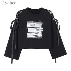 Cheap crop sweatshirt, Buy Quality sweatshirt letters directly from China casual tracksuit Suppliers: Lychee Spring Autumn Women Crop Sweatshirt Letter Print Lace Up Bandage Long Sleeve Casual Pullover Tracksuit Edgy Outfits, Grunge Outfits, Cool Outfits, Fashion Outfits, Estilo Harajuku, Kawaii Clothes, Harajuku Fashion, Mode Style, Aesthetic Clothes