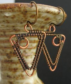 Copper and Brass Wire Wrapped Free Form by LoneRockJewelry on Etsy, $45.00