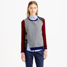 J.Crew - Merino wool asymmetrical zip sweater in colorblock