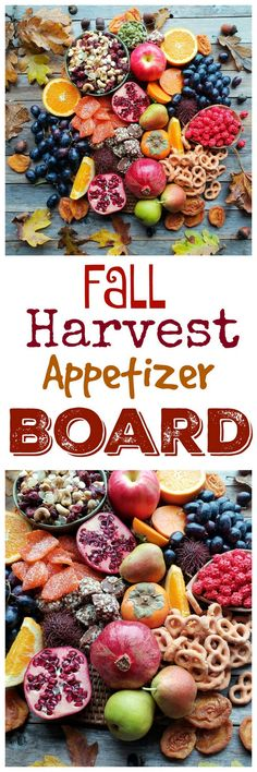 "One of my favorite entertaining ""hacks"" is putting together a big board of seasonal goodies in lieu of preparing appetizers. This Fall Harvest Appetizer Board is a guaranteed crowd-pleaser! Harvest Appetizers, Yummy Appetizers, Appetizer Recipes, Thanksgiving Recipes, Fall Recipes, Holiday Recipes, Top Recipes, Delicious Recipes, Holiday Meals"
