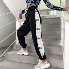 Sweatpants Women Joggers Pants Patchwork Print Bunch Legs High Waist L – Outfitter Style Sweatpants Outfit, Jogger Sweatpants, Sporty Outfits, Cute Outfits, Fashion Outfits, Hip Hop Outfits, Mens Fashion, Fashion Fall, Fashion Advice