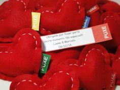 Coração fofinho com uma mensagem personalizada de agradecimento aos convidados…