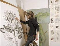 """Sarah Graham  botanical artist"" I would love to get good enough to do my art on big canvases like this. :) Really cool."