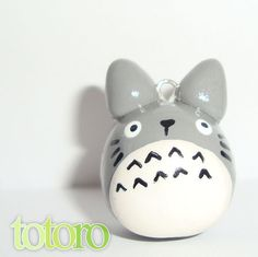 Totoro polymer clay charm - cute kawaii animal polymer phone charm - my neighbor… Polymer Clay Kunst, Cute Polymer Clay, Polymer Clay Animals, Cute Clay, Fimo Clay, Polymer Clay Charms, Polymer Clay Projects, Polymer Clay Creations, Clay Crafts