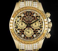 Rolex Cosmograph Safari Daytona Gold Leopard Dial Diamond & Sapphire Set B&P Expensive Watches, Most Expensive, Rolex Daytona, Rolex Submariner, Rolex Watches, Accessories, Gull, Safari, Sapphire