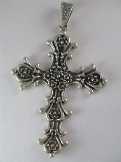 Huge Mexico Sterling Floral Baroque Style Cross Pendant    http://www.ultimateadornment.com