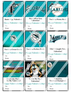 Florida Marlins Valentines Day Cards Sheet #2 (instant download or printed)