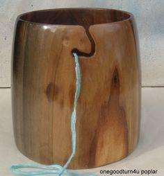 wooden yarn bowl Poplar woodworking woodturning by onegoodturn4u
