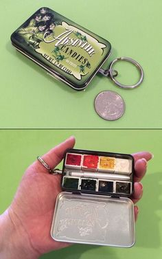 "Michelle Spalding made a portable kit from a mint tin, ""with a retractable cosmetic brush - keychain size with half-pans"" Watercolor Sketch, Watercolor Paintings, Watercolors, Watercolor Pans, Sketch Art, Pochade Box, Guache, It Cosmetics Brushes, Painted Boxes"