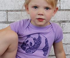 Panda Bear Screenprinted Baby Onepiece Bodysuit by CausticThreads, $18.00