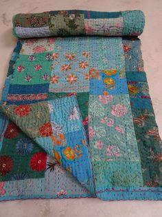 Vintage Patola Silk Sari Kantha Quilt Patchwork Throw Gudari Bedspread Blanket 0 #Handmade