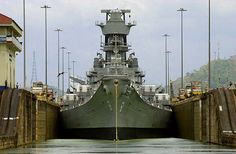 The battleship Iowa  crosses the Panama Canal at Miraflores Lock