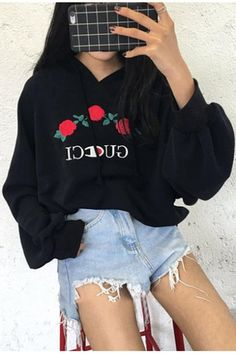 sweater tumblr grey grey sweater hoodie embroidered rose gucci champion trendy couture is my. Black Bedroom Furniture Sets. Home Design Ideas