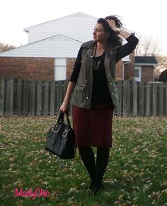 OOTD Red pencil skirt from Dress Barn, long army green vest from Forever21, black studded purse from Mimi Boutique #fallfashion #style