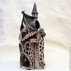 """Купить Подсвечник замок """"Гельбенштейн"""" - оранжевый, замок, подсвечник, фэнтэзи, сказка, скандинавия, европа"""