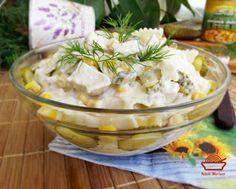 Salata-de-pui-cu-paste-si-porumb-3 Carne, Camembert Cheese, Potato Salad, Potatoes, Ethnic Recipes, Food, Salads, Potato, Essen