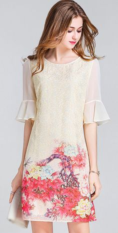 Vintage Embroidery O-Neck Puff Sleeve Bodycon Dress
