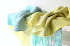 Hand woven unique gradient scarf yellow green blue grey extra long scarf with fringe  Hand woven long scarf with ... #kgthreads #sellertools
