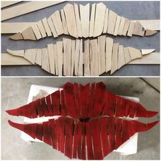 With a miter saw, a torch and a nailer I was able to create some lips for our wall. Diy Wall Art, Wood Wall Art, Woodworking Items That Sell, Simple Canvas Paintings, Mosaic Flower Pots, White Wall Decor, Wood Scraps, Wood Creations, Salvaged Wood