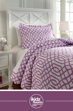 iKidz Rooms® - Loomis Lavender Twin Comforter Set - Kids, Youth and Teen Bedroom Furniture and Accessories