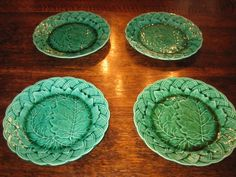 MAJOLICA SET OF 4 ANTIQUE GREEN CABBAGE & WEAVE PATTERN PLATES in Pottery, Porcelain & Glass, Pottery, Majolica   eBay