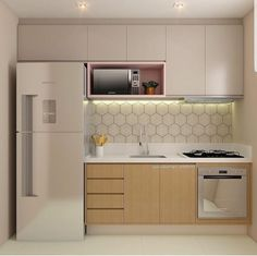 Do the kitchen wall cabinets become your lovely choice to apply in the small kitchen? This is a kind of upper cabinet design that is usua. Kitchen Room Design, Kitchen Sets, Modern Kitchen Design, Kitchen Layout, Home Decor Kitchen, Kitchen Furniture, Kitchen Interior, Home Kitchens, Mini Kitchen
