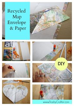 Turn your old maps into envelops and letter paper to send in the mail to friends and family