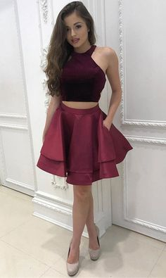 On Sale Dazzling Two Pieces Homecoming Dresses Two Pieces Halter Homecoming Dress Burgundy Short Prom Dress Party Dress Prom Dress Two Piece, 2 Piece Homecoming Dresses, Burgundy Homecoming Dresses, Prom Dresses With Pockets, Dresses Short, Prom Party Dresses, Dresses For Teens, Cheap Dresses, Sexy Dresses