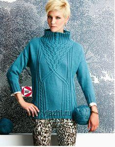 Вязание пуловера с воротником – стойка выполняется сверху вниз с большим узором косы посередине