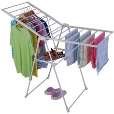 HomCom Foldable Gullwing Clothes Drying Rack - designed to maximize drying space while minimizing space used. Multiple positions offers a variety of clothes drying sizes and options. Includes a flat sweater and shoe drying feature.