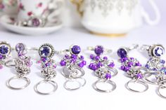 Violet Lavender Lilac Purple Zircon Multi Finger Rings - Filigree Heart Rose Armor Long Finger Rings Midi Beaded Jewelry ring Violet Vanilla by VioletVanilla on Etsy