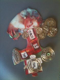 altered puzzle piece my original creation my FB page Piece of mine Puzzle Piece Crafts, Puzzle Art, Puzzle Pieces, Altered Canvas, Altered Art, Puzzle Jewelry, Domino Jewelry, Paper Art