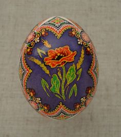 """Ukraine Pysanka by Oleh K, CHICKEN Easter egg- height- 2.2""""(in) / Pysanky 