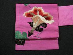 Lovely Embroidered Morning Glory Motifs Vintage Nagoya Obi