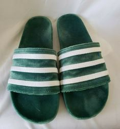 5aa597cd7a668b Adidas Adilette green   white stripes slides Velour Velvet Slipper Shoes sz  12  fashion