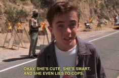 okay, she's cute, she's smart, and she even lies to cops.l malcolm in the middle. Tv Quotes, Movie Quotes, Life Quotes, Funny Quotes, Mbti, Krysten Ritter, This Is Your Life, The Villain, Mood Pics