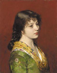 Eugene de Blaas, The Yellow Shawl. Oil on canvas. 38.5 x 48.5 cm.