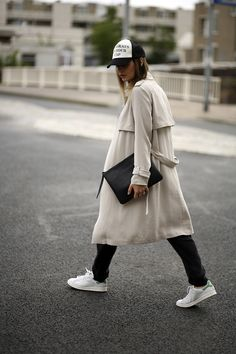 baseball cap, trench coat & sneakers #style #fashion