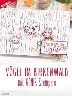 "Winterliche Karte ""Vögelchen im Birkenwald"" stempeln Scrapbook Cards, Scrapbooking, Bullet Journal, Tags, Books, German Men, Cards, Bird Stencil, Painted Pots"
