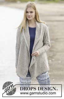 "Knitted DROPS jacket with shawl collar in 2 strands ""Brushed Alpaca Silk"" or 1 strand ""Melody"". Size: S - XXXL. ~ DROPS Design"