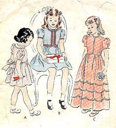 1944 GIRL'S ONE-PIECE DRESS; KNEE OR FLOOR LENGTH VOGUE 2325