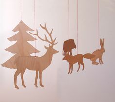 Wildlife in the Forest - Wooden Mobile - Beech
