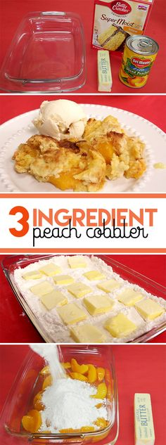 Learn how to make delicious 3-ingredient peach cobbler with just cake mix, canned peaches in syrup, and some butter.