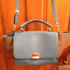 Crossbody Hand Bag Turquoise and Gray Crossbody Bag/16 inches across with wings & 10 inches down/Faux Leather NWT Merona Bags Crossbody Bags