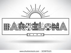 Barcelona City Typography Design with Building Letters