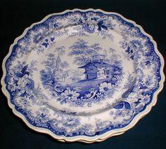 Pair of Blue Transferware Plates, LUCERNE, Opaque China
