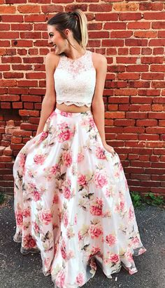 2018 prom dresses, two piece prom dresses, long prom dresses, floral prom dresses with white lace top, graduation dress party dress