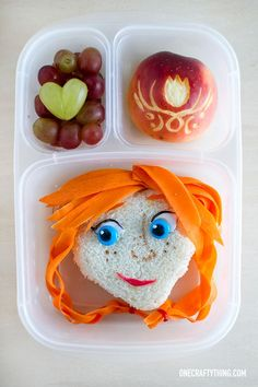 A Frozen Bento: Anna   http://OneCraftyThing.com   packed in @EasyLunchboxes