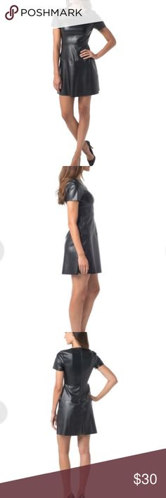 Vegan Leather Fit and Flare Dress Brand new and never worn! This is a very unique take on the fit and flare dress in sexy, soft black vegan leather. It has short sleeves, a crew neck and nipped in waist that makes it flattering for most body-types. Hits just above knee. Sophisticated and unusual, one else will be wearing this dress. Supply and Demand Dresses