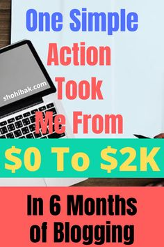 Make money blogging - This one simple action took me from 0 to 2k in 6 months of blogging. Implement this strategy today and earn passive income without a doubt. #makemoneyblogging #earnpassiveincome #bloggingtips #bloggingforbeginners Earn Money From Home, Make Money Blogging, Make Money Online, How To Make Money, Blogging For Beginners, Passive Income, Affiliate Marketing, 6 Months